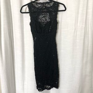 Black Sequin Lace Dress w/ Open Back
